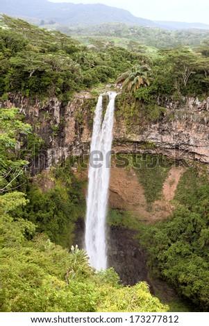 Chamarel falls in Mauritius island - stock photo
