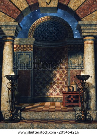 Chamber in an oriental fantasy palace with burners - stock photo