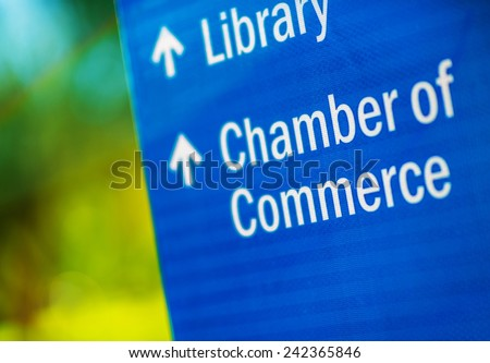 Chamber of Commerce Blue City Information Sign.  - stock photo