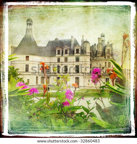 Chambord castle -retro styled picture