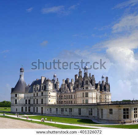 CHAMBORD, FRANCE - JULY 16: The chateau Chambord on July 16, 2005. Chambord is royal medieval french castle in Loire Valley - UNESCO heritage site. - stock photo