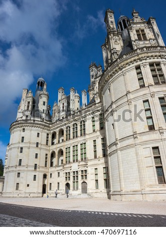 CHAMBORD, FRANCE - MAY 07, 2015: The royal Chateau de Chambord at Loir-et-Cher, is one of the most recognizable castles in the world because of its very distinctive French Renaissance architecture