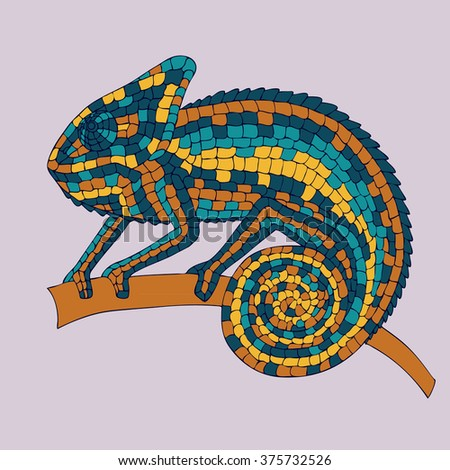 Chameleon sitting on a branch. abstract vector illustrations multicolored mosaic chameleon, lizards, reptiles with small scales. illustrations drawn by hand with pencil, pen. logo. Icon. - stock photo