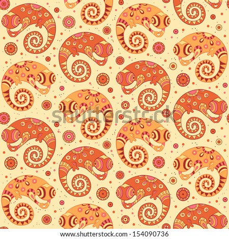 Chameleons decorative seamless pattern in cartoon style.  Can be used for wallpapers, fills, web page background, surface textures.