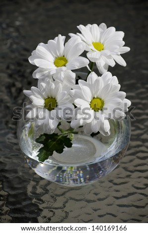 Chamomile flowers in a vase close-up