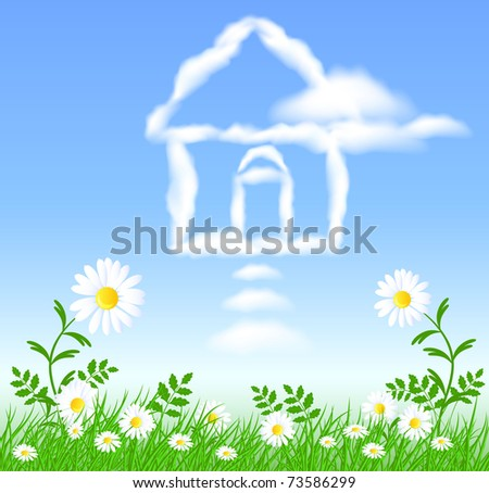 Chamomiles with green grass and house cloud in the sky. Raster version - stock photo