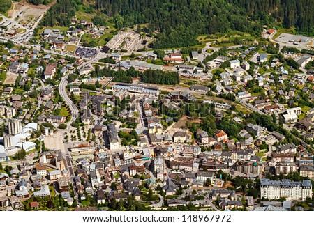 Chamonix ariel view, shot from the Aiguille du Midi, France. - stock photo