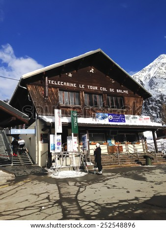 CHAMONIX, FRANCE - JANUARY 22: Telecabine Le Tour Col De Balme ski station near Chamonix, France, 22 January 2015 - stock photo