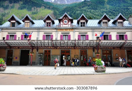 CHAMONIX, FRANCE - JULY 31: Facade of the Railway station of Chamonix on July 31, 2015. Chamonix is a famous ski resort located in Savoy province, France.