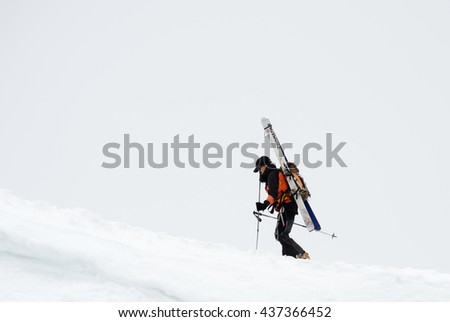 CHAMONIX, FRANCE - JUNE 8, 2013: Climbers in the French Alps mountains. Mont Blanc massif, Aiguille du Midi. Chamonix.