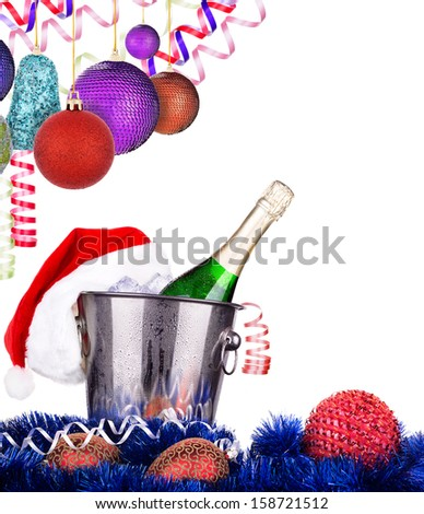 Champagne and christmas decor. Isolated on white background - stock photo