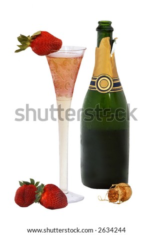 Champagne and strawberry - isolated on white - stock photo