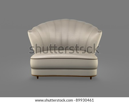 champagne art deco sofa isolated on grey - stock photo