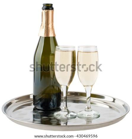 Champagne bottle and champagne glasses on tray isolated on white background - stock photo