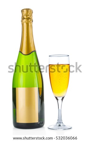 Champagne bottle and filled goblet on white background