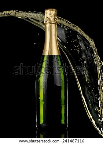 Champagne bottle and splash