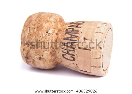 Champagne bottle cork with the text Champagne - stock photo