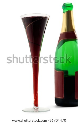 Champagne bottle glass isolated on white - stock photo