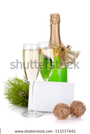 Champagne bottle, glasses and empty card. Isolated on white background - stock photo