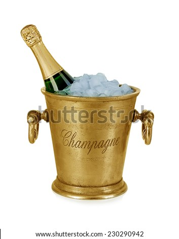 Champagne bottle in a bucket with ice isolated on the white background - stock photo