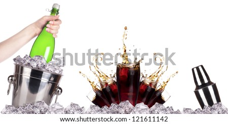 Champagne bottle in ice bucket and fresh cola on the white background - stock photo