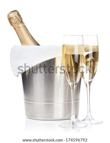 Champagne bottle in ice bucket and two glasses. Isolated on white background - stock photo