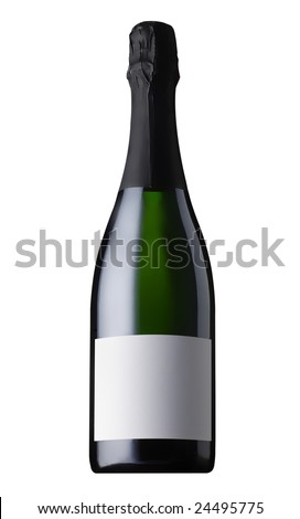 champagne bottle isolated - stock photo
