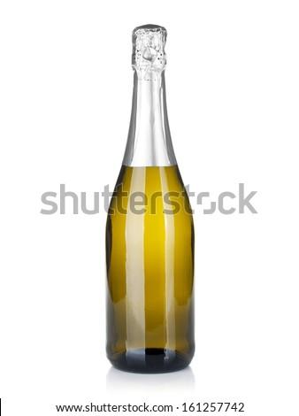 Champagne bottle. Isolated on white background - stock photo