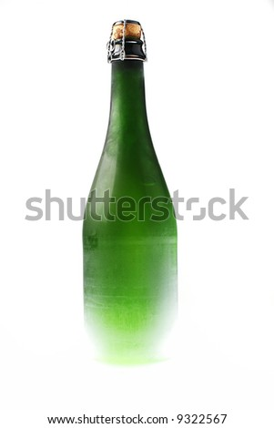 Champagne bottle on white background, no label