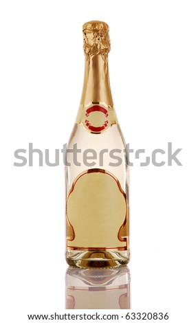 Champagne bottle with blank label - stock photo
