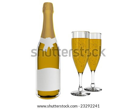 Champagne bottle with blank labels & champagne in glass