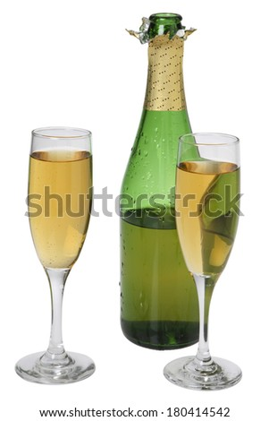 champagne bottle with glasses on white  - stock photo