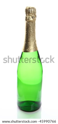 Champagne bottle with no label isolated on white background