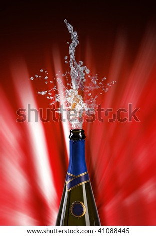 champagne bottle with shooting cork on RED background - stock photo