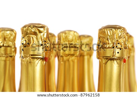 Champagne bottles isolated on white background - stock photo