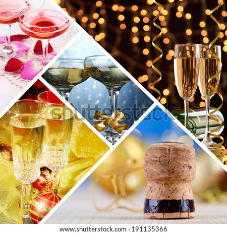Champagne collage - stock photo