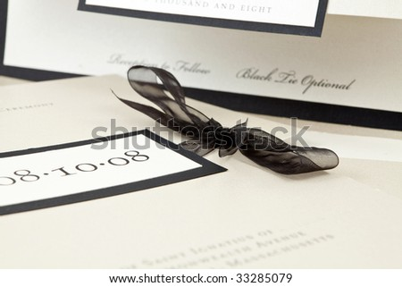 Champagne Colored Wedding Invitation, Shallow Depth Of Field - stock photo
