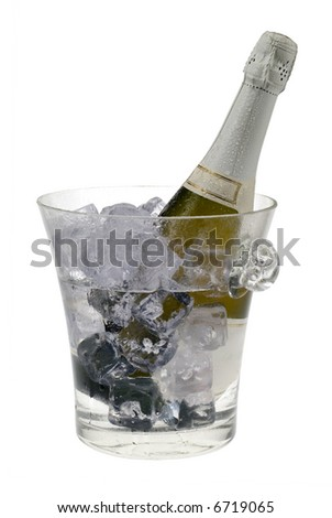 champagne cooler filled with ice and bottle isolated on a white background