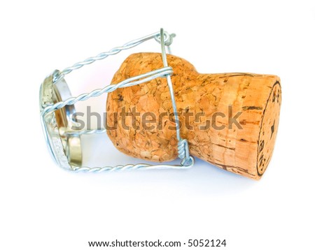 Champagne cork isolated on a white background - stock photo