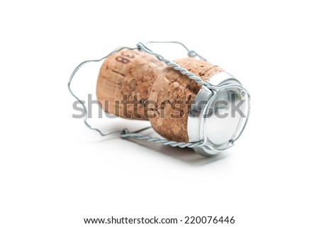 Champagne cork isolated on the white background - stock photo