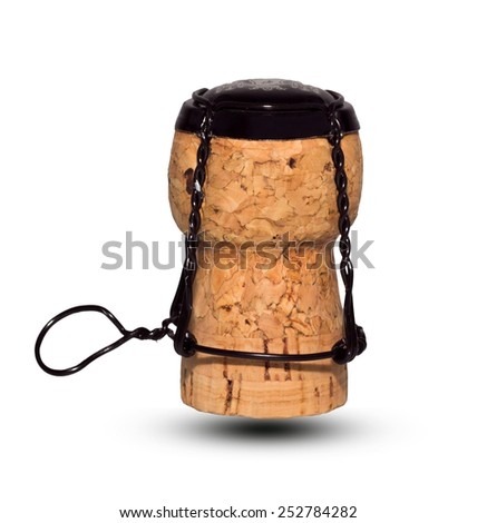 Champagne cork isolated on white background. - stock photo
