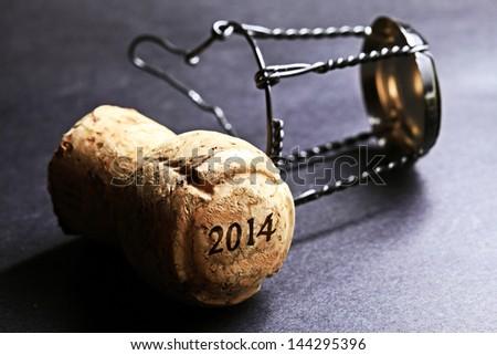 Champagne cork new year 2014. Macro image. - stock photo