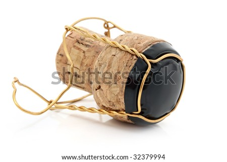 Champagne cork with gold wire and black metal top, isolated on white with soft shadow.