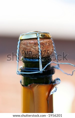 Champagne cork with muselet - stock photo