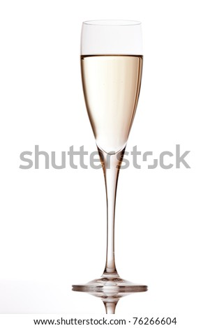 champagne flute with reflection isolated on white - stock photo