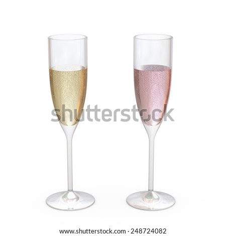 Champagne Flutes Classic Glasses set with liquid, clipping path included  - stock photo