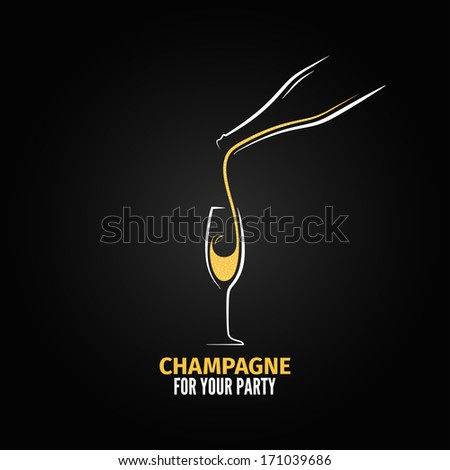 champagne glass bottle design background illustration - stock photo