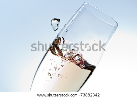 champagne glass isolated on white background - stock photo