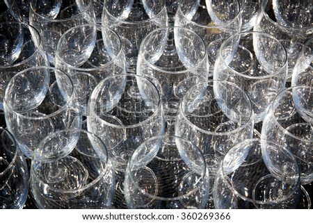 champagne glass pattern transparent empty glass goblets for wine,background Abstract, with vignette - stock photo