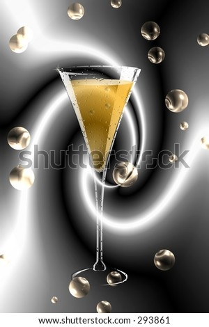 Champagne glass with boubles over black silk . - stock photo